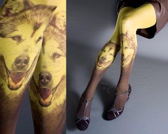 Tattoo Tights, light mustard one size Doggy full length closed toe tights pantyhose tattoosocks