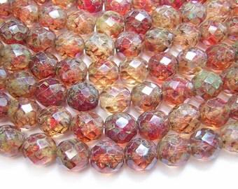 Czech Fire Polished Beads 12mm Amber Sunset Travertine Fire Polished Round Beads 8pcs (4320) Czech Picasso Beads    Czech Glass beads