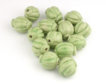 Green Ceramic Beads with Endcaps