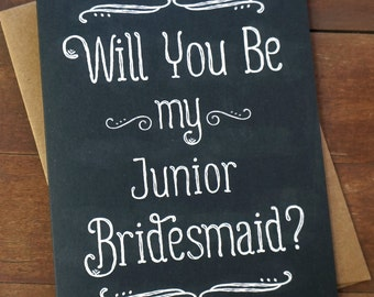 Will You Be My Junior Bridesmaid Card- Wedding Party Card Sister Jr Bridesmaid Gift Junior Bridesmaid Proposal Daughter Jr Bridesmaid Card