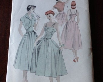 Vintage 50s Butterick 5378 Full Skirt Sundress and Bolero Pattern size 14 B32 UNCUT