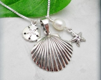 Seashell Necklace, Beach Jewelry, Starfish Necklace, Sanddollar Necklace, Sterling Silver, Shell Jewelry, Summer Necklace (SN560)