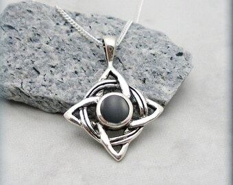 Black Onyx Celtic Necklace, Knot Necklace, Irish Jewelry, Knotwork Pendant (SN721)