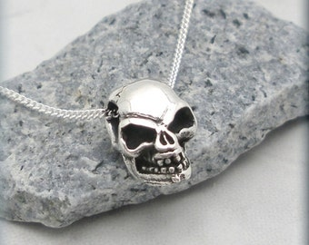Tiny Human Skull Necklace Biker Jewelry Sterling Silver Pendant (SN719)