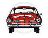 Color Volkswagen Karmann Ghia - Letterpress Linoleum print