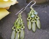 Apple green glass beaded dagger earrings