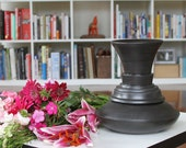 Black Vase - SHOP SALE - Industrial Vessel No. 6 - Satin Black Ceramic Vase