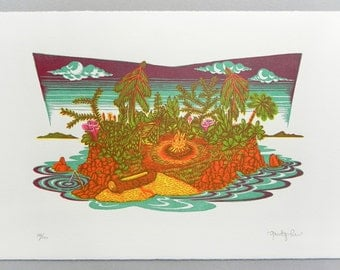 One Man Island - Woodcut Print, Woodblock Print by Tugboat Printshop