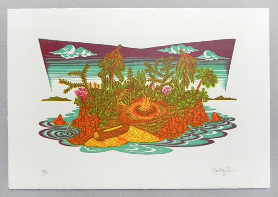 One Man Island - Woodcut Print, Woodblock Print by Tugboat Printshop
