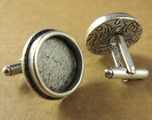 Traditional Cuff Links Circle Bezel Blanks Set - Antique Sterling Silver Plated Finish
