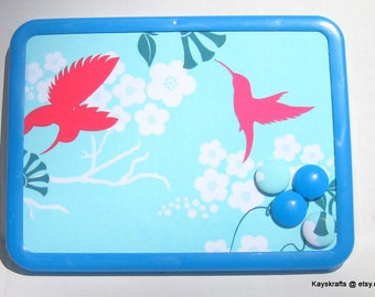 Hummingbirds on Aqua Magnet Board Bulletin Board on Etsy 8x11 Patty Young With 4 Button Magnets Adults Teens Children Bedroom Kitchen Dorm