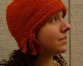 Knit Rust Cloche, hat cap cloche women 20s flapper orange