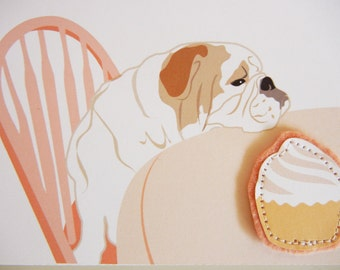 Mother's Day English Bulldog I Love You More Than Cupcakes Pink Blank Note Card with Envelope