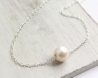 Floating Pearl on Silver Chain Necklace