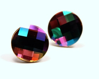 Cranberry Crystal Button Stud Earrings Metallic Circle Round Large Bold Swarovski Purple haze Golden Shimmer Sterling Silver Stud Pink Red