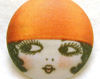 Flapper Button Her name is LUCILLE- Hand Printed Fabric seven- eighths inch
