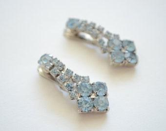 Vintage Light Blue Rhinestone Dangling Clip Earrings