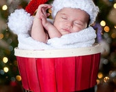 Baby Santa's Hat, Photo Prop, Christmas Baby Hat, Baby Boy Hat, Baby Girl Hat, Sizes Newborn, 0-3 months, 3-6 months