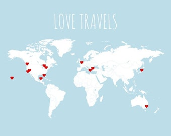 Interactive Travel Map, World Map Poster, Pin Country Travels with Heart Stickers, Love Travels Map Art Print, DIY Anniversary Gift, 16x20