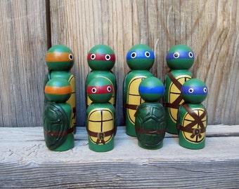Teenage Mutant Ninja Turtles- PegBuddies Set of 4, Ninja Turtles, Peg Doll, Birthday cake Topper, Keychain, Custom