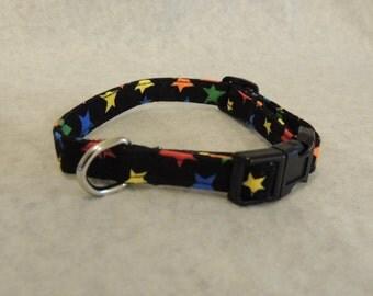 "Small Dog Collar 1/2"" Wide 8 - 12"" Colored Stars"