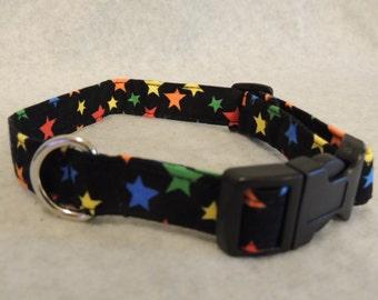 "Medium Dog Collar  3/4"" Wide 11-15"" Colored Stars"