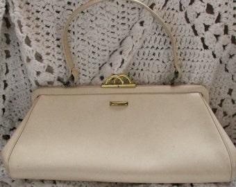 Vintage Mod Handbag Margolin Off White Cream Beige Neutral Vinyl Purse Summer Purse Roomy