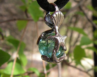 Sterling Silver Ocean Theme Pendant With Aqua Aura