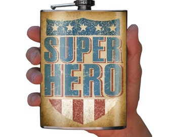 LAST ONE!!    Super Hero flask - stainless steel - 8oz.
