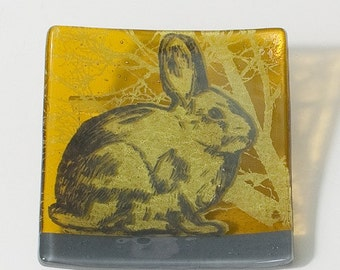 Rabbit Fused Glass Catch-all Dish