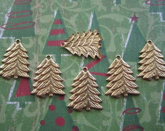 Fir Tree Christmas Charms Brass Findings on Etsy x 6