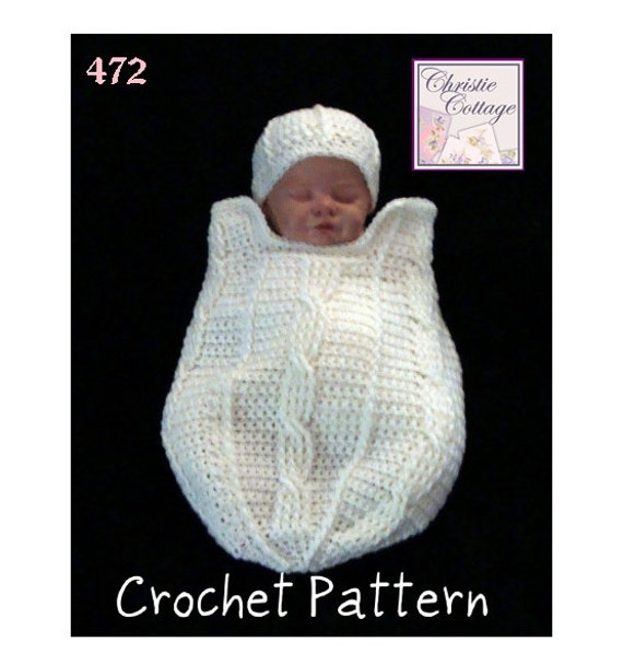 Fisherman Cable Newborn Cocoon and Hat Set, Crochet Pattern #472