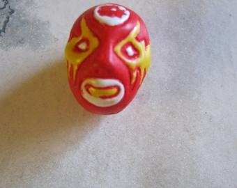 Lucha Libre Ceramic Bead, red, blue, brown