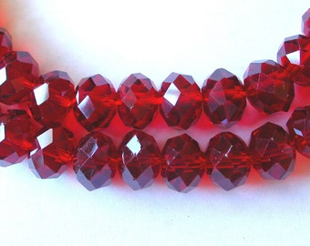 Red Crystal Beads, 8x12mm Red Rondelle Beads (35)