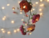 Bohemian Garden Mixed Rose Fairy Lights Pretty Flower String Lighting in Red and Pinks - PamelaAngus