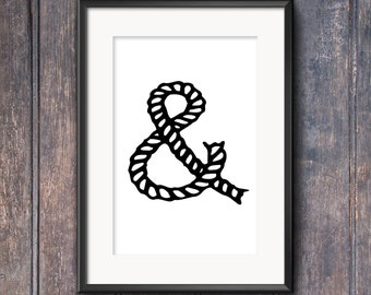 Nautical typography rope Ampersand print - Printable wall art  INSTANT DOWNLOAD