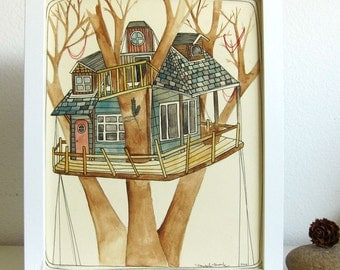 Tree House Painting, Tree House Art, Art, Illustration, Original Illustration, House Art, Tree House, Painting - Up in the Trees