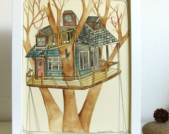 Sale - Art - Tree House Painting - Illustration - Original Illustration - House Art - Tree House - Painting - Up in the Trees