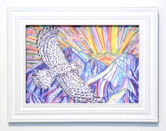 Greeting Card, Falcon, Vision, Mountain, Sun, Bird, Nature, Freedom, Flying, Dream, Spiritual, NeoShaman, Guide, Mystical, Light, Eco Art