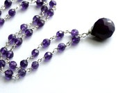 Purple Drop Necklace, Wire Wrapped, Grape Gemstone Teardrop, Sterling Silver