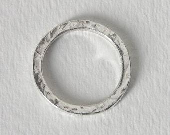 Argentium Silver, Hammered Texture, Handmade, size US 9+