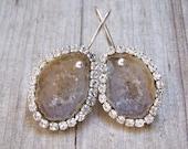 SALE...Tabasco geode Geode,bezel with Swarovski crystals, sterling silver crystal earwire, earrings