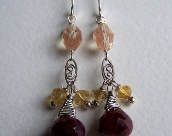 SALE...Ruby briolette, Faceted citrine, Oregon Sunstone, sterling silver earrings