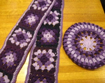 Lavender and Shades of Purple Granny Crochet Beret And Matching Scarf Woman