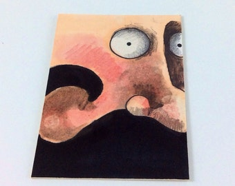 Mustache Man Original ACEO Drawing by Aaron Butcher