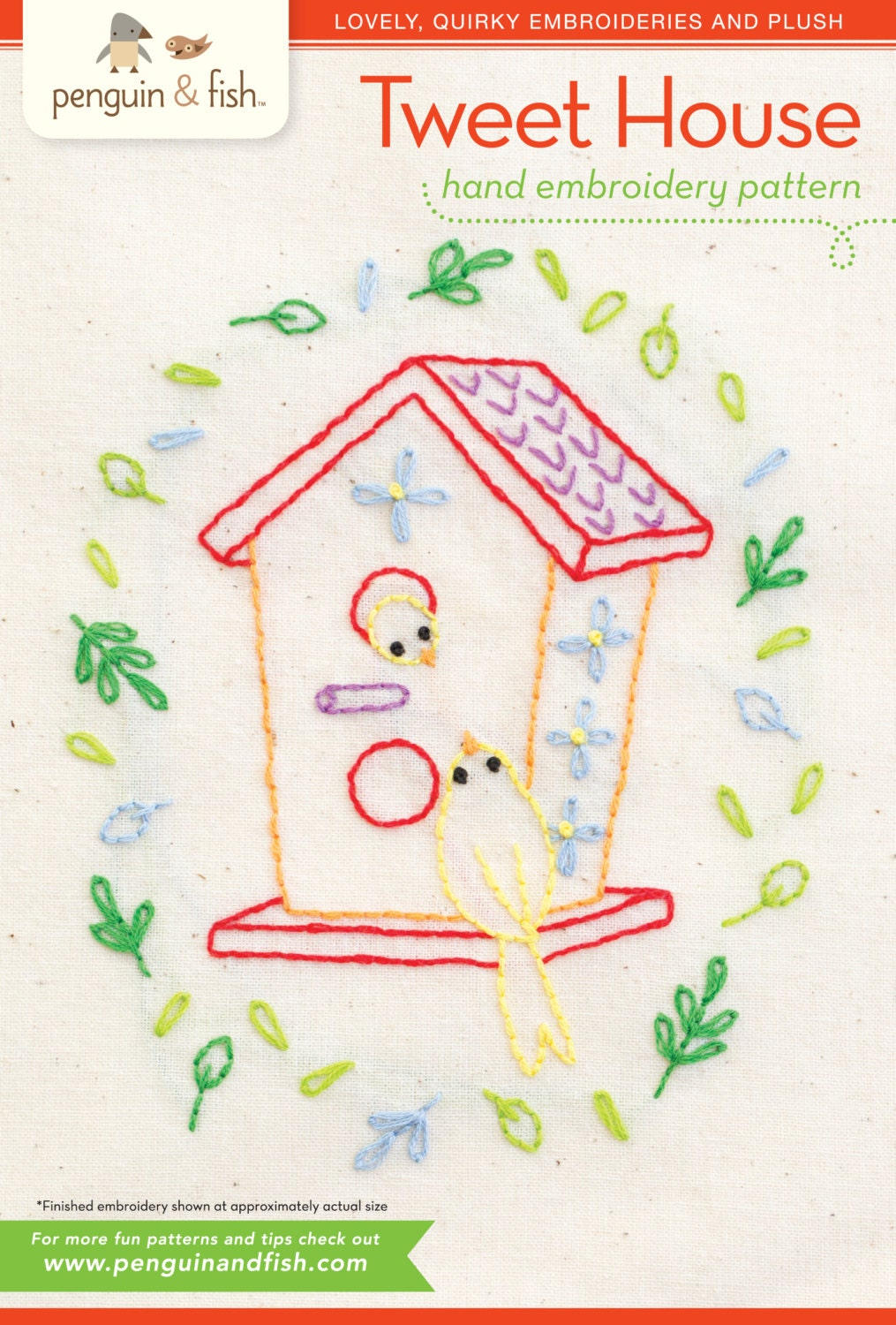 Tweet house hand embroidery pattern with iron on transfer