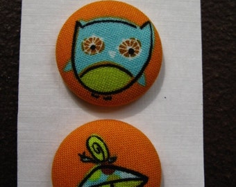 """Wearable Sew On Fabric Covered Buttons - Size 45 or 1 1/8"""" Owl, Snail and Mushroom"""