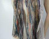 Nuno Shawl-Scarf felted sheer cashmere-soft  merino silk All Season Colors
