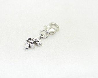 Tibetan silver fleur de lis lobster claw charm for link bracelets and necklaces, Clip on charm, Purse charm, Backpack charm, zipper charm