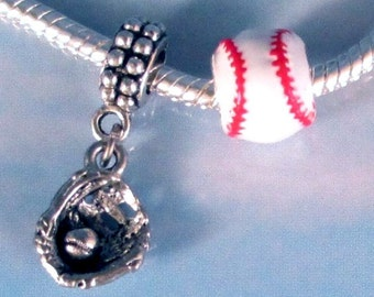 Baseball Bead and Glove Silver Charms Set European Slide On to Chain or Clip On